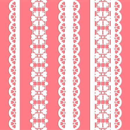 veters: schattig rechte kant set. Naadloze kant trims voor gebruik met stof projecten, achtergronden of scrapbookingateliers.  Elementen kunnen ook worden gebruikt als borstels Stock Illustratie