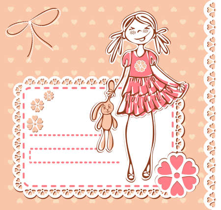 Cute smile girl frame. Baby Girl Card with Photo Frame and place for your text in vector