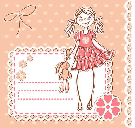 Frame met schattige glimlach meisje. Baby meisje kaart met Photo Frame en plaats voor uw tekst in vector Stockfoto - 10365903