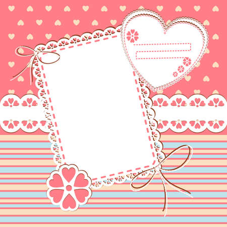 scrap booking: Baby Girl Arrival Card with Photo Frame and place for your text in vector