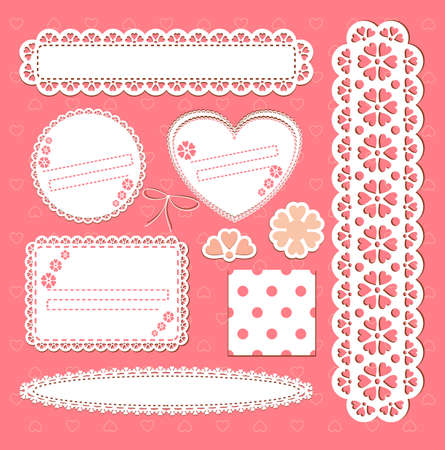 set lace frames. Scrap template with blank space for your photos or text Vector