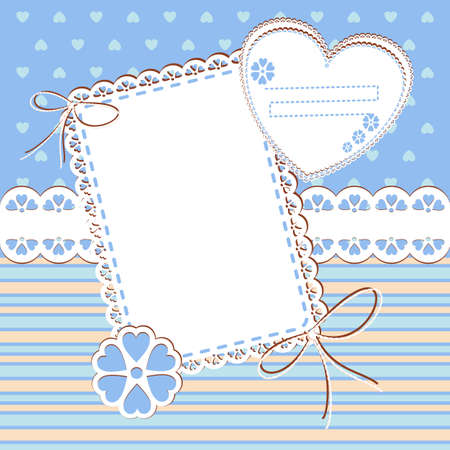 Baby boy Arrival Card with Photo Frame and place for your text  Vector