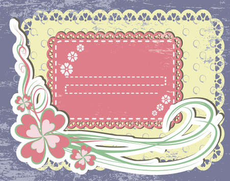 Vintage flower Frame Design For Greeting Card on lace grange background Vector