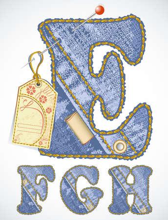 Vector jeans alfabet met bloem-label en lege ruimte voor uw tekst Stock Illustratie