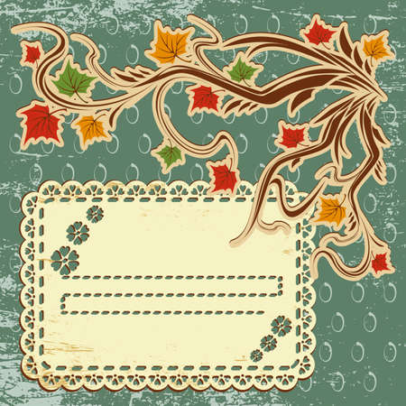 vector autumn background with leaves and a greeting card Vector
