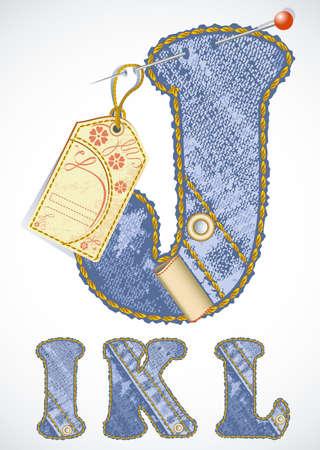 threadbare: Alfabeto jeans vettoriale con etichetta fiore e spazio vuoto per il vostro testo Vettoriali