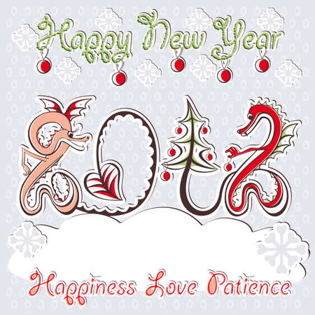 New Year 2012 dragons greeting romantic vector card in scrapbooking love christmas style Stock Vector - 10551093