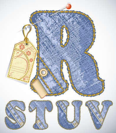 sew tags: Vector jeans alphabet with flower label and blank space for your text