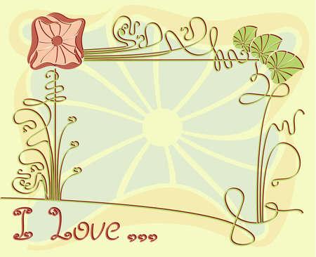Vector achtergrond, frame met florale elementen