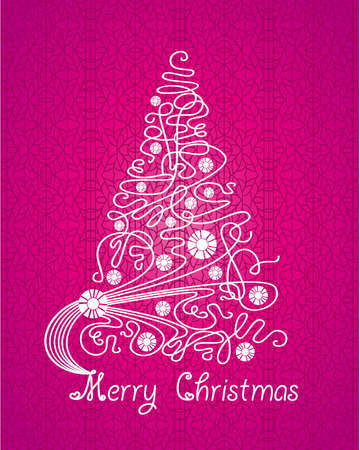 Merry Christmas purple vector card. Tree on lace background