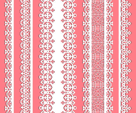 straight lace set. Seamless lace trims for use with fabric projects, backgrounds or scrap-booking.  Elements can also be used as brushes Vector