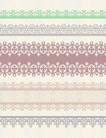 Set of vintage borders. Could be used as divider, frame, etc Ilustração