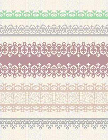 Set van vintage grenzen. Kan gebruikt worden als scheidingswand, frame, etc Stockfoto - 10659213