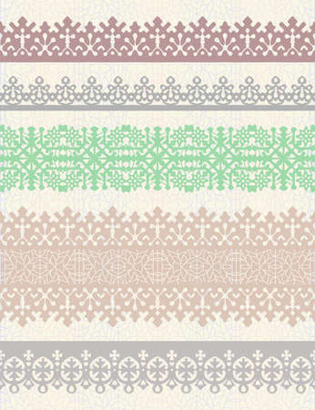Set of vintage vector borders. Could be used as divider, frame, etc