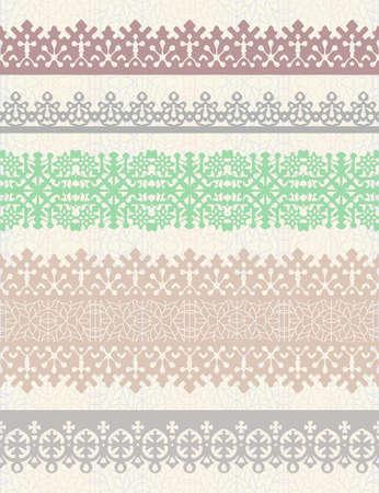 Set van vintage vector grenzen. Kan gebruikt worden als scheidingswand, frame, etc