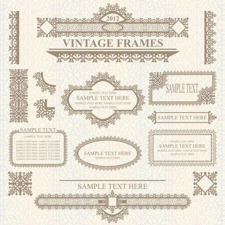 Verzameling van ontwerpelementen: labels, randen, frames, enz. Kan worden gebruikt voor pagina decoratie, certificaat, etc Stockfoto - 10723697