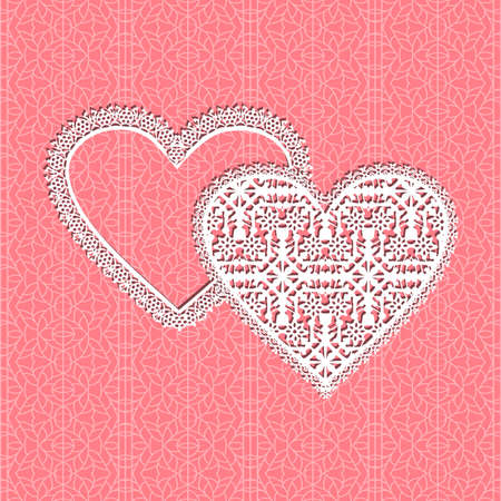Red fine lace vector heart frame with floral pattern on lace background Ilustração
