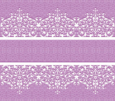 Floral purple vector seamless lace pattern with flowers. Lace background. Endless floral texture for textile.