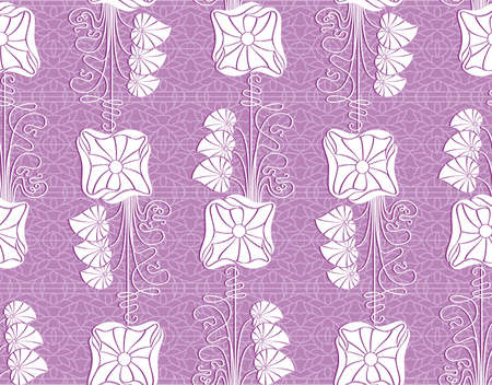Floral purple vector seamless lace pattern with flowers. Lace background. Endless floral texture for textile. Vector