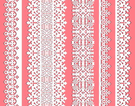 straight vector lace set. Seamless lace trims for use with fabric projects, backgrounds or scrap-booking.  Elements can also be used as brushes Stock Vector - 10723704