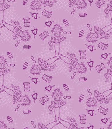 pensil: Baby girl purple vector seamless pattern. Glamour background.  Endless texture for textile.