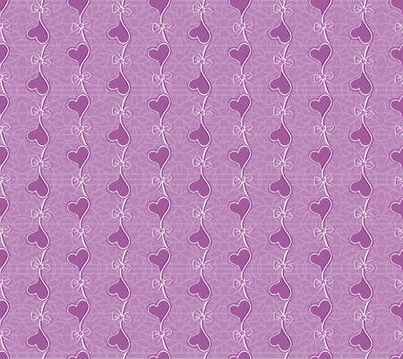 Floral purple vector seamless lace pattern with heart flowers. Lace background. Endless heart floral texture for textile. Ilustração