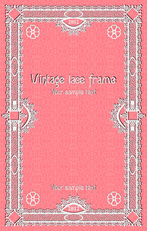 Template border frame  design for card, sertificate. Vintage Lace Doily. certificate or coupon template with detailed border and additional design elements