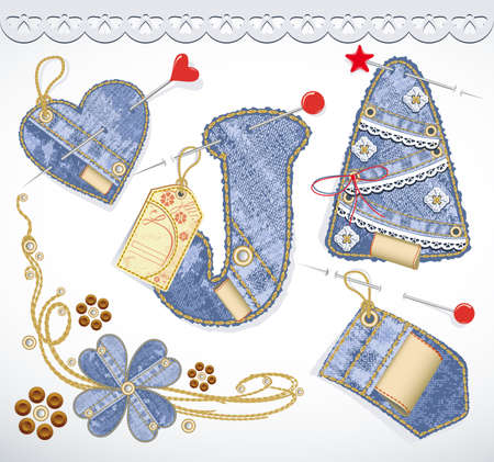 sew tags: Vector jeans design element set. Denim texture. Heart, flower, tag, label, lace, christmas tree Illustration