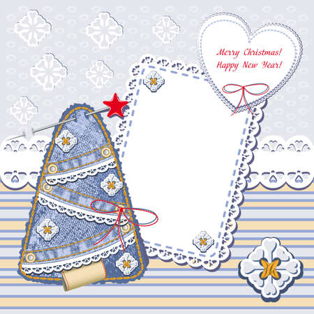 New Year and Christmas card. Christmas frames with denim Christmas trees and lace seamless. jeans decorative background Vector