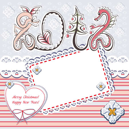 New Year 2012 dragons greeting romantic vector card in scrapbooking love christmas style Vector