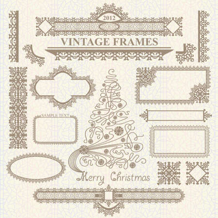 Christmas vector vintage elements collection on seamless pattern. Frames, bordes, tree Illustration