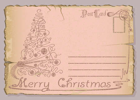 Vintage postcard with Christmas and New Years greeting. Christmas tree Vector