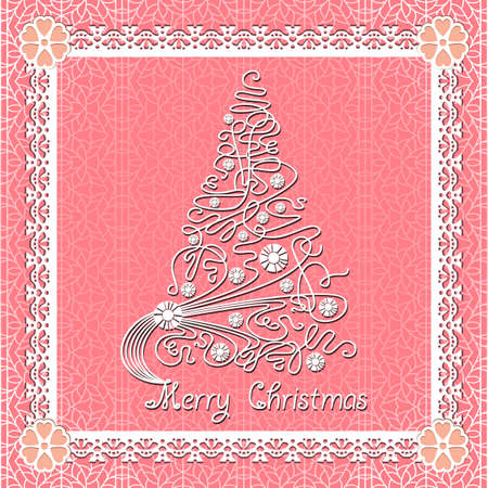White lace christmas tree on seamless background. Vector holiday card Stock Vector - 11549757