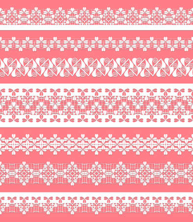 lace fabric: straight lace set. Seamless lace trims for use with fabric projects, backgrounds or scrap-booking.  Elements can also be used as brushes