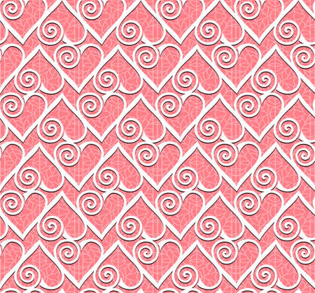Ornamental heart lace pattern. Seamless vector background.
