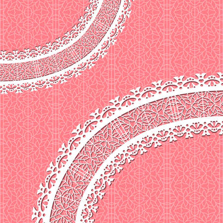 red vector card with a figured lace. Ornamental background Vector