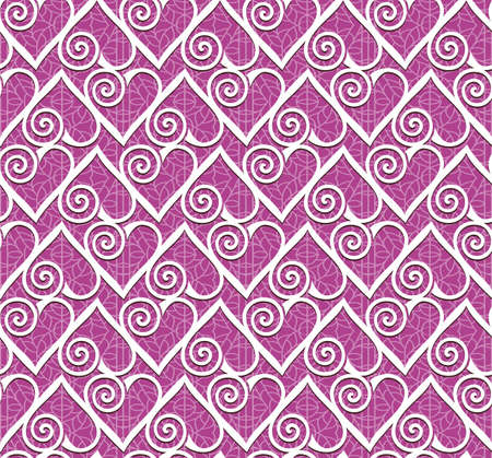 Ornamental heart lace pattern  Seamless vector background