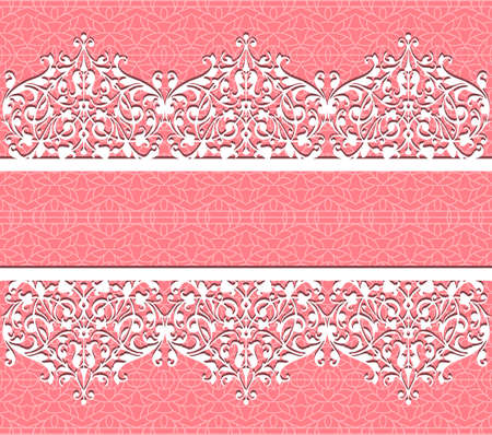 pink bow: Vector lace background Card with a figured lace  Floral background