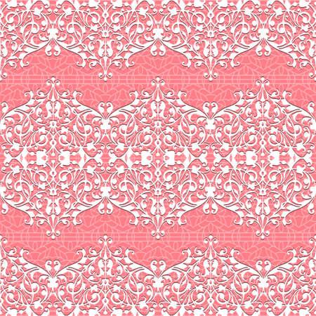 Naadloze wit en roze Bloemen Patroon Vector kant achtergrond Stockfoto - 13076287
