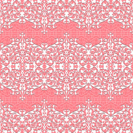 Seamless white and pink Floral Pattern  Vector lace background Illustration