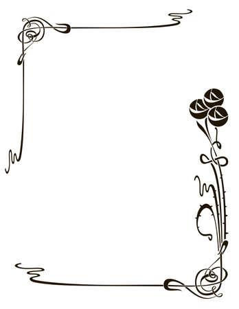 旋回の装飾的な花、ローズおよび植物要素をベクトルします。