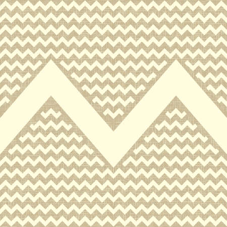 Seamless zigzag pattern on linen canvas background  Vintage rustic burlap chevron