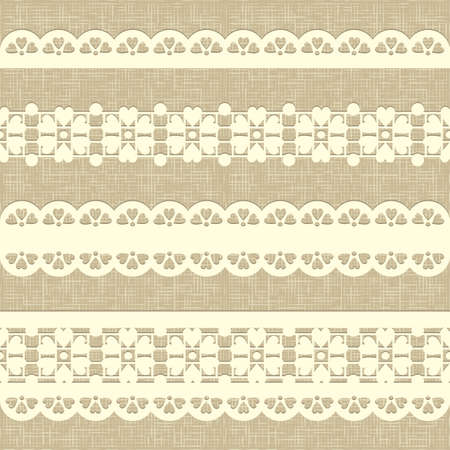 Seamless rustic burlap pattern  Vintage straight lace on linen canvas background