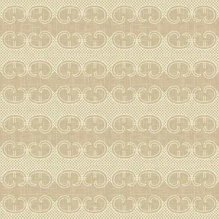 çuval bezi: Ornate vintage seamless pattern on linen canvas background  Rustic burlap
