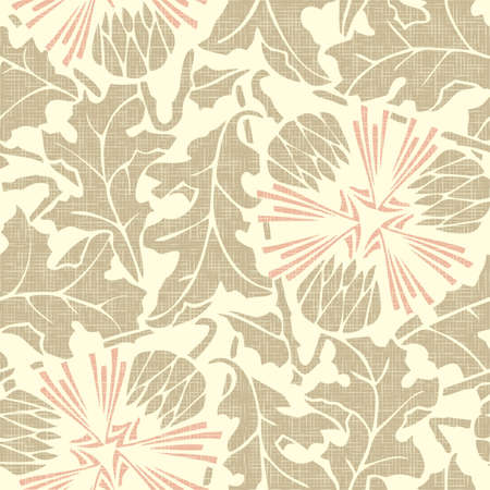 Vintage rustic Seamless floral burlap pattern dandelion on linen canvas background  Vector