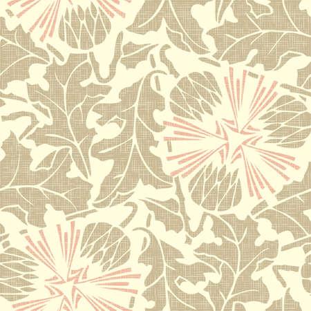 Vintage rustic Seamless floral burlap pattern dandelion on linen canvas background  Vector