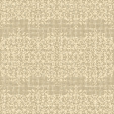 Vintage Seamless floral burlap pattern dandelion on linen canvas background  Ilustração