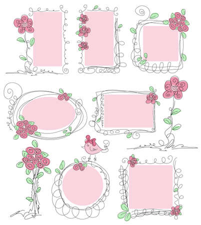 Floral doodle frames  Hand drawn cute flower