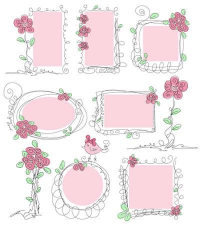 Floral doodle frames  Hand drawn cute flower