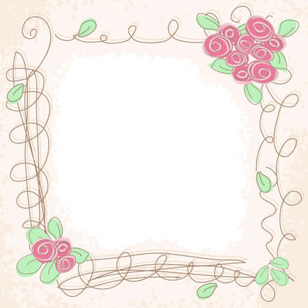 floral pink doodle frame  Romantik background Vector